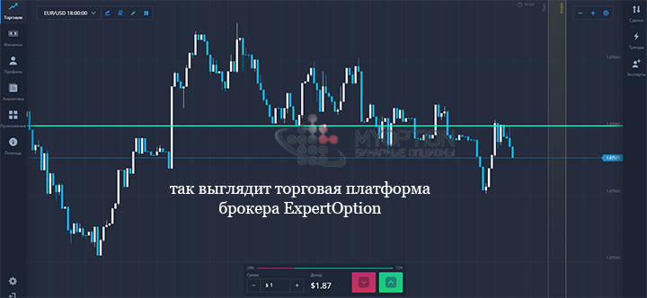Вид самой платформы ExpertOption